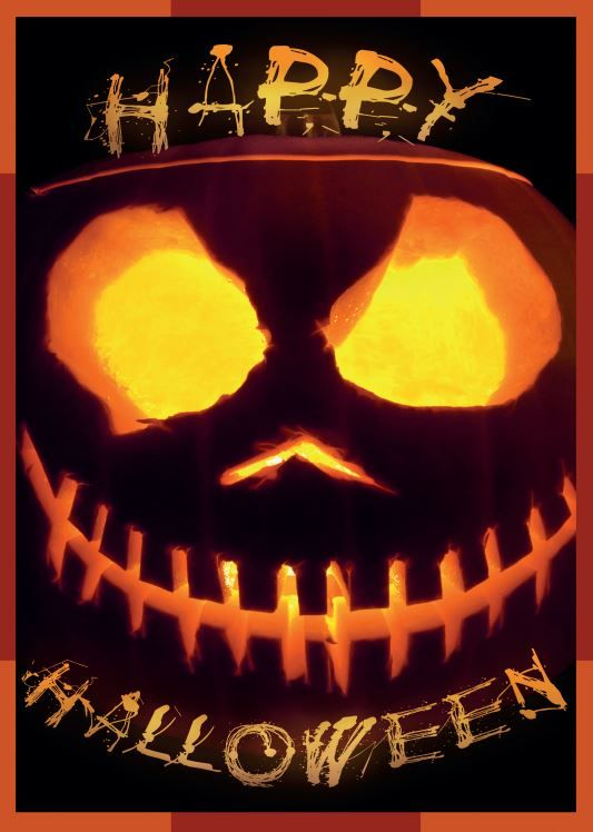 Free printable Halloween decoration / poster with pumpkin design - halloween poster ideas