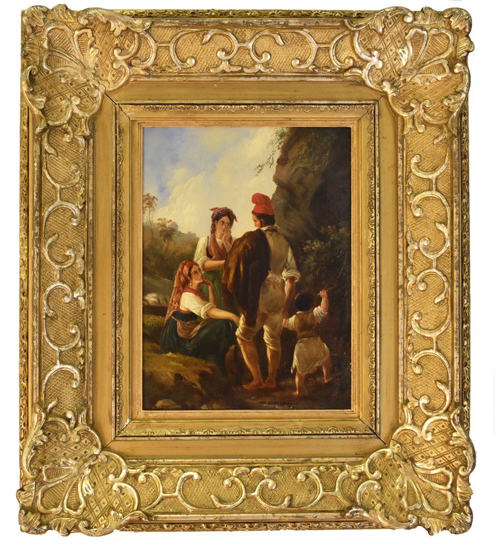 Quadro dell'Ottocento, con cornice dorata, paesaggio con