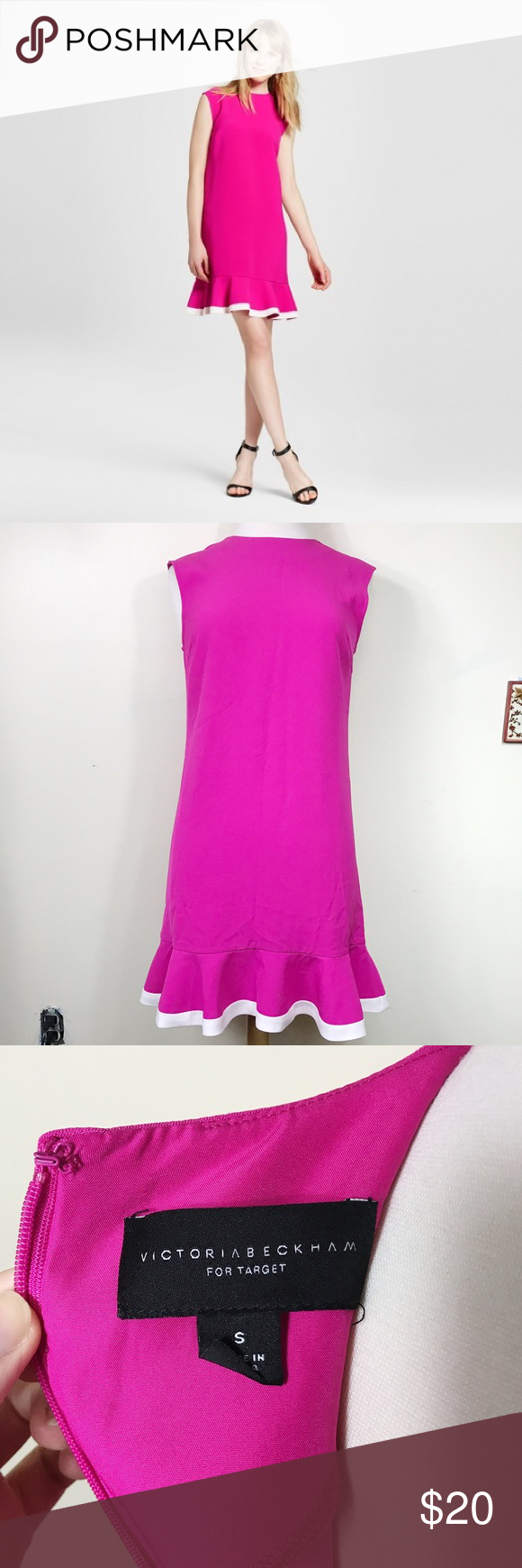 Victoria Beckham For Target Pink Ruffle Hem Dress Victoria Beckham For Target pink dress with ruffle detailing on the bottom. Size small. Very good condition. Victoria Beckham for Target Dresses Mini
