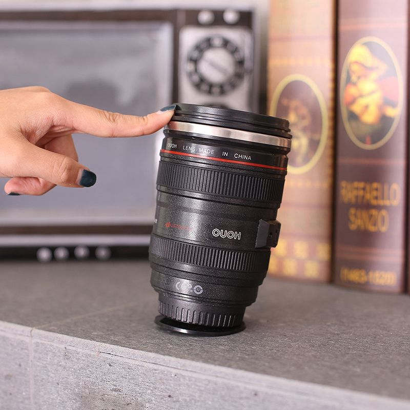400ML NeverSpill Stainless Steel Camera Lens Water Mugs Not Inverted  Insulation Tumbler Coffee Cup Never Spill