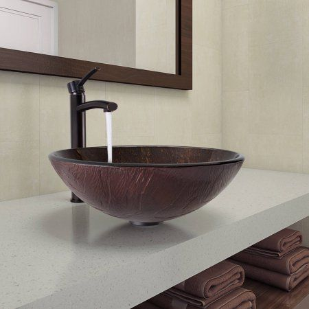 Vigo Kenyan Twilight Glass Vessel Bathroom Sink and Milo Faucet Set - Vessel Sinks Bathroom