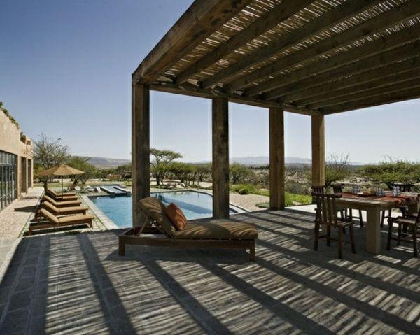 Bambus Vordach Sichtschutz Sonnenschutz Pool Garten