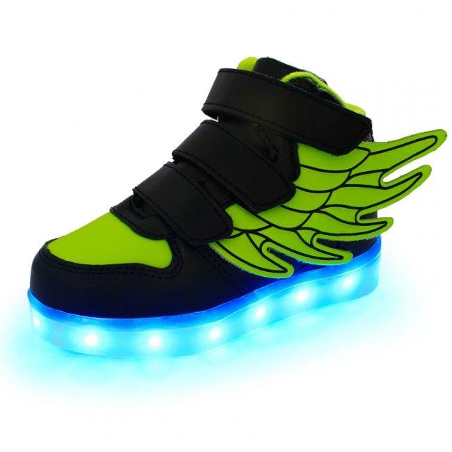 Fluorescerend Groen LED Kinderschoenen Met Vleugels