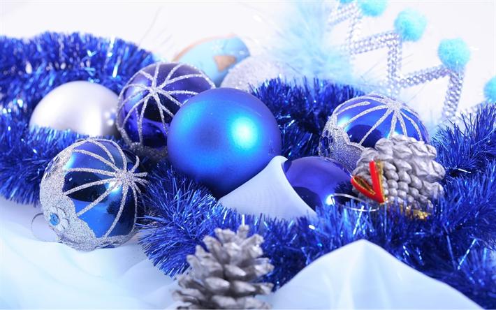 Fond D écran Vacances De Noël: Télécharger Fonds D'écran Noël, Bleu, Boules De Noël, Des