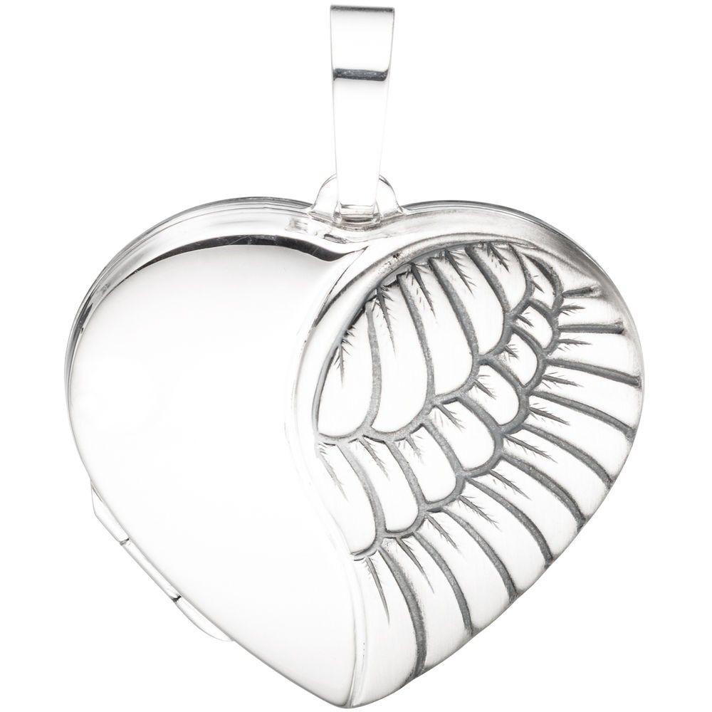 Medaillon Herz für 2 Fotos, 925 Sterlingsilber, matt 156589
