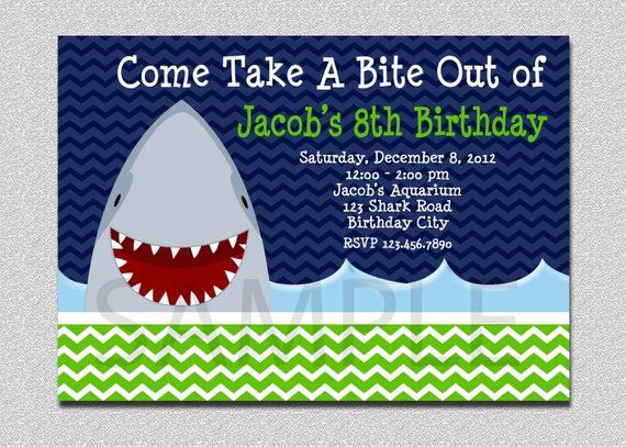 Shark Birthday Invitation Party Boys Invitat