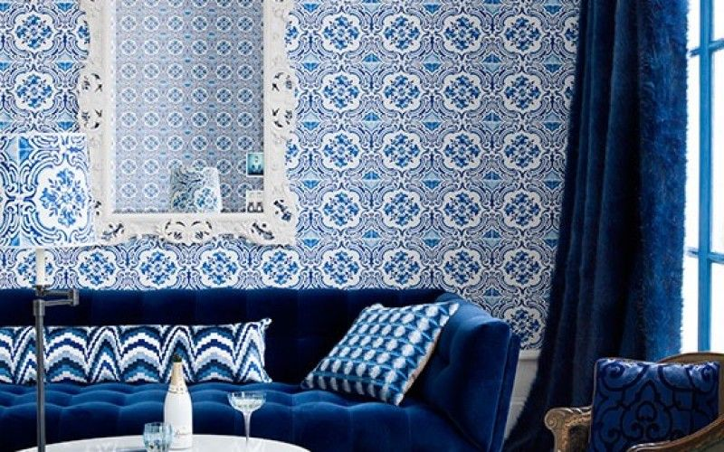 id es d co pour votre salon marocain le bleu l honneur int rieur oriental pinterest. Black Bedroom Furniture Sets. Home Design Ideas