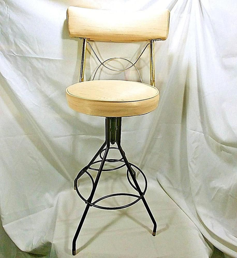 Mid Century Chair Vanity Swivel Bar Stool Bathroom Chair Tan And Gold Metal Hollywoodregency Mid Century Modern Chair Swivel Bar Stools Bar Stools