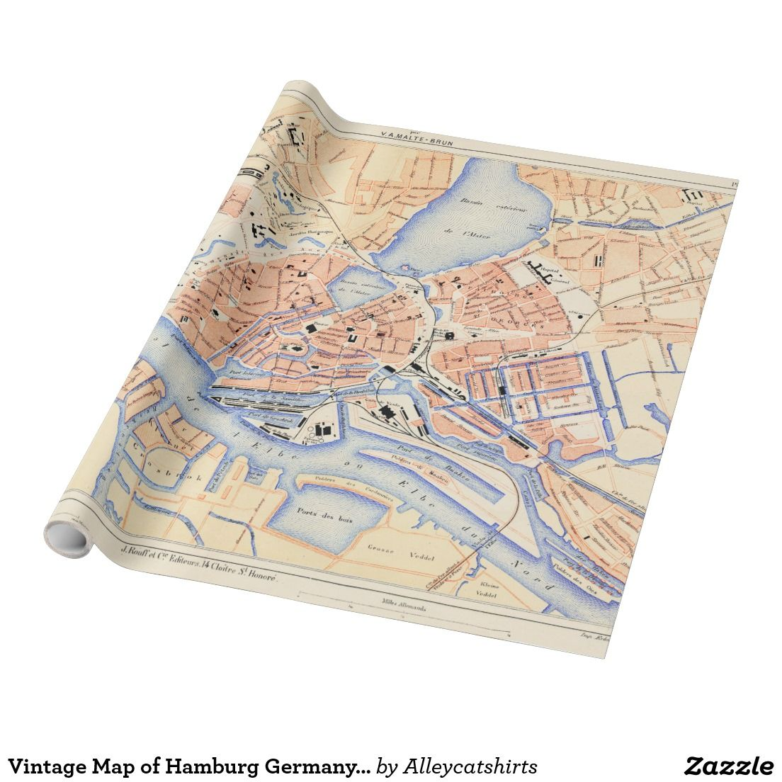 Vintage Map of Hamburg Germany (1888) Wrapping Paper | Wrapping ...