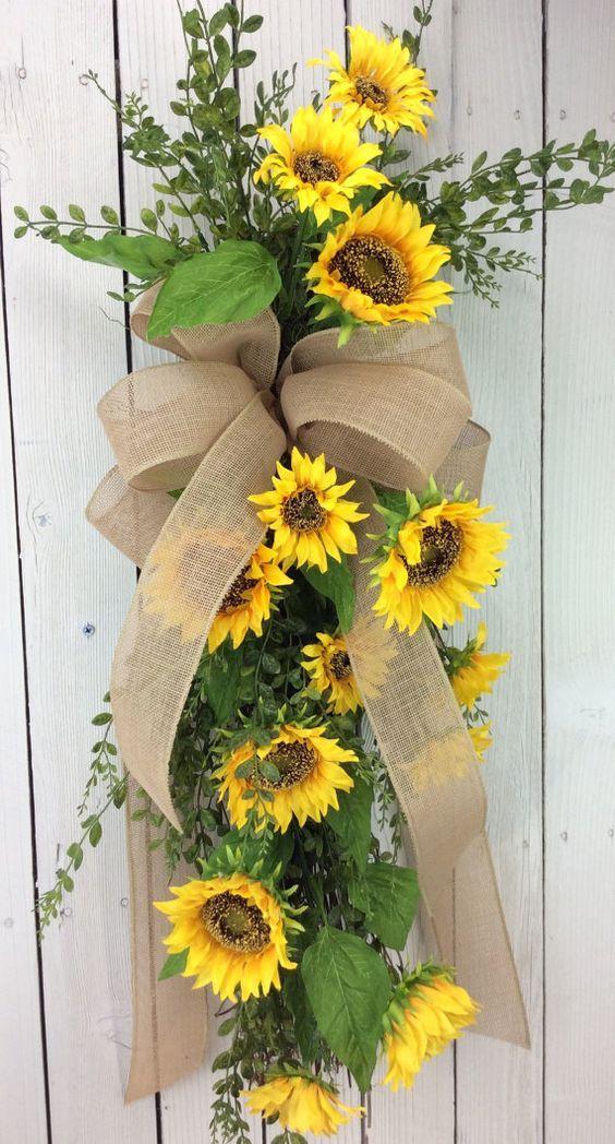 Sunflowers Swag Sunflower Wreath Front Door Wreath Door Swag Double Door Wreaths All Season Swag Door Wreaths Diy Spring Wreath Spring Front Door Wreaths