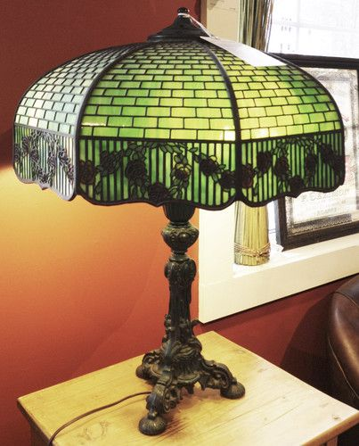 Handel lamp shade 1906 teroca series slag colored geometric overlay antique lamps ebay mozeypictures Choice Image