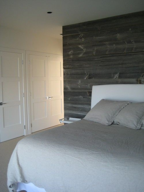 Seriously Liking The Weathered Grey Reclaimed Wood On The Wall Contemporary Bedroom Cedar Walls Contemporary Bedroom Design