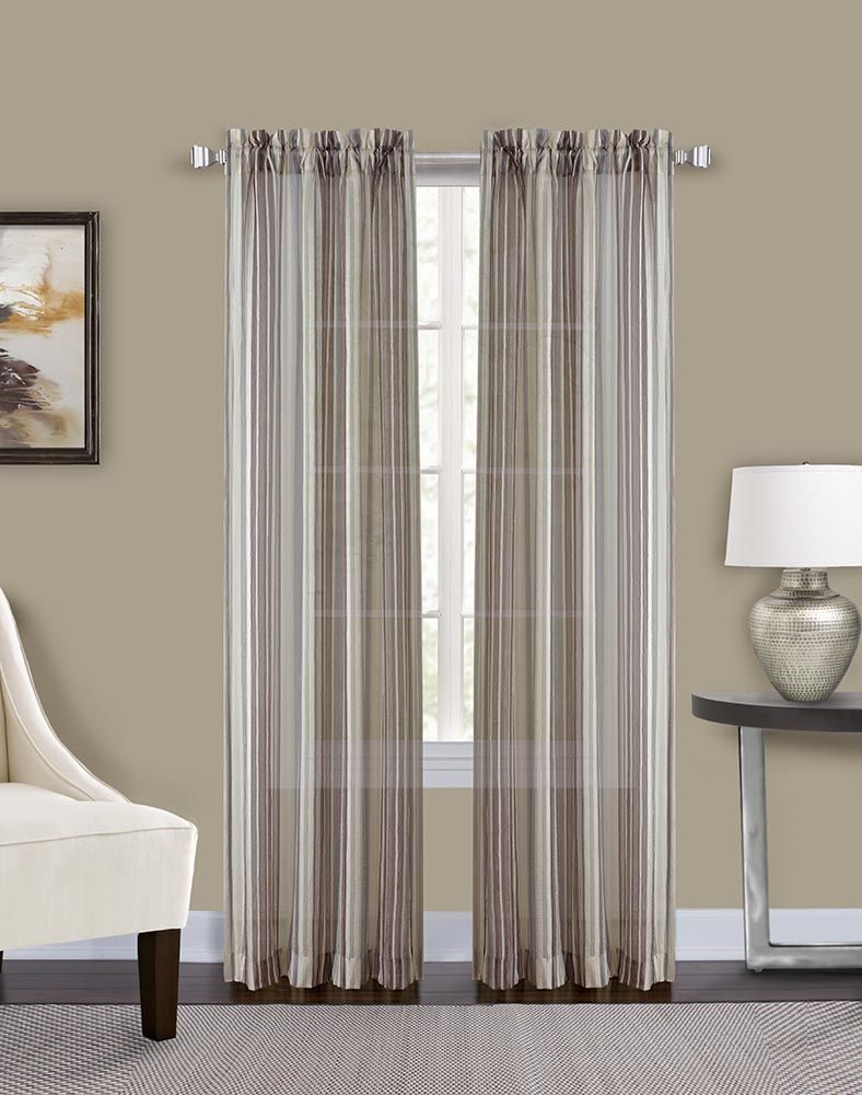 Percy Semi Sheer Stripe Curtain Panel Curtainworks
