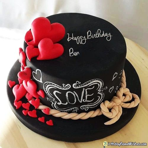 happy birthday ben cake card and wish  birthday cake for