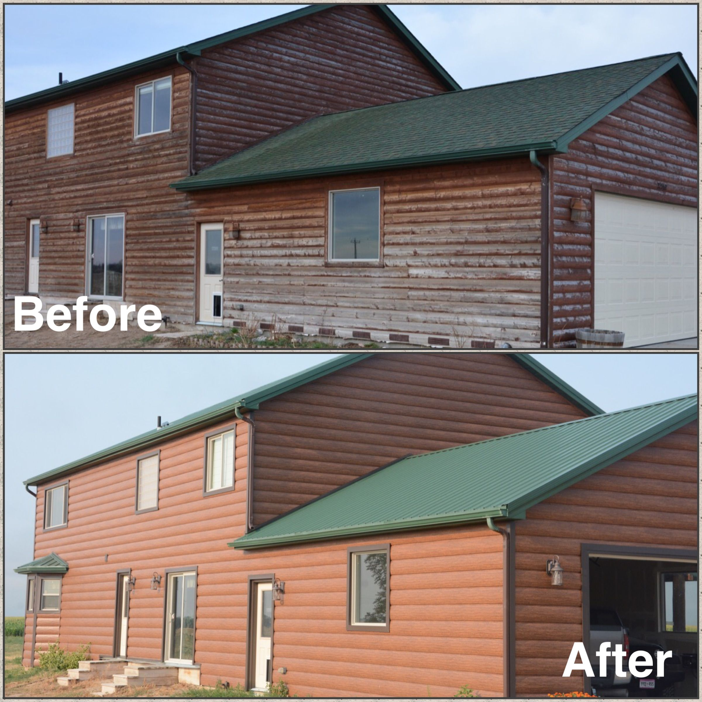 Red Cedar Home In Colorado Went From Real Wood Logs To Maintenance Free Steel Log Siding Cedar Homes Log Siding Steel Siding
