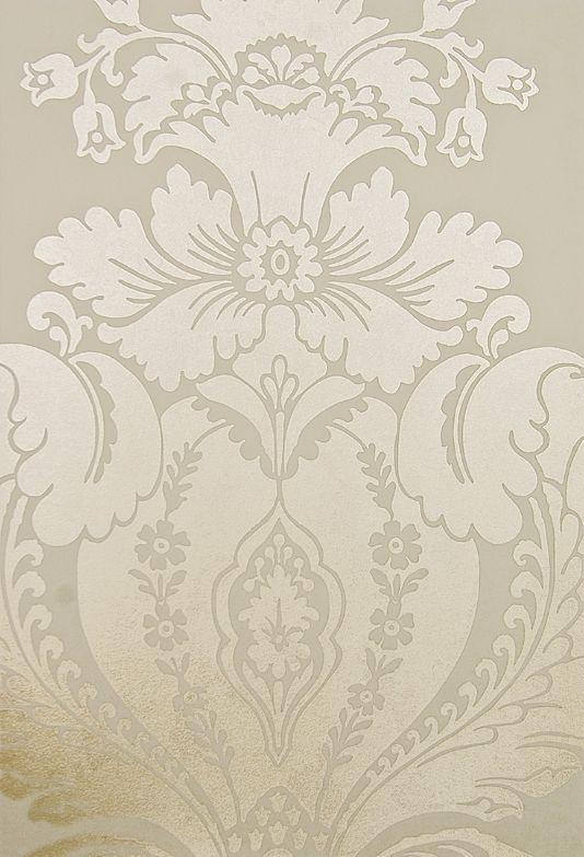Baudelaire Damask Wallpaper Large Print Metallic Mottled Gold Damask Design  Wallpaper On Cream Paper. Part 3
