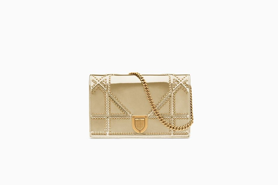 f9645c535e7 Diorama Wallet on Chain clutch in gold-tone studded metallic calfskin with  large