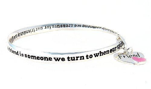Bracelet - B150 - Bangle Style Engraved with Friend Poem ~ A Friend is Someone We Turn To... + Heart Charm ~ Silver Tone Metal (68mm) $10.99