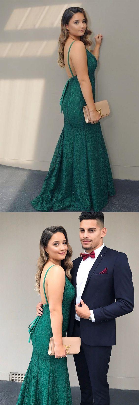 Elegant hunter green lace mermaid long prom dress prom dress