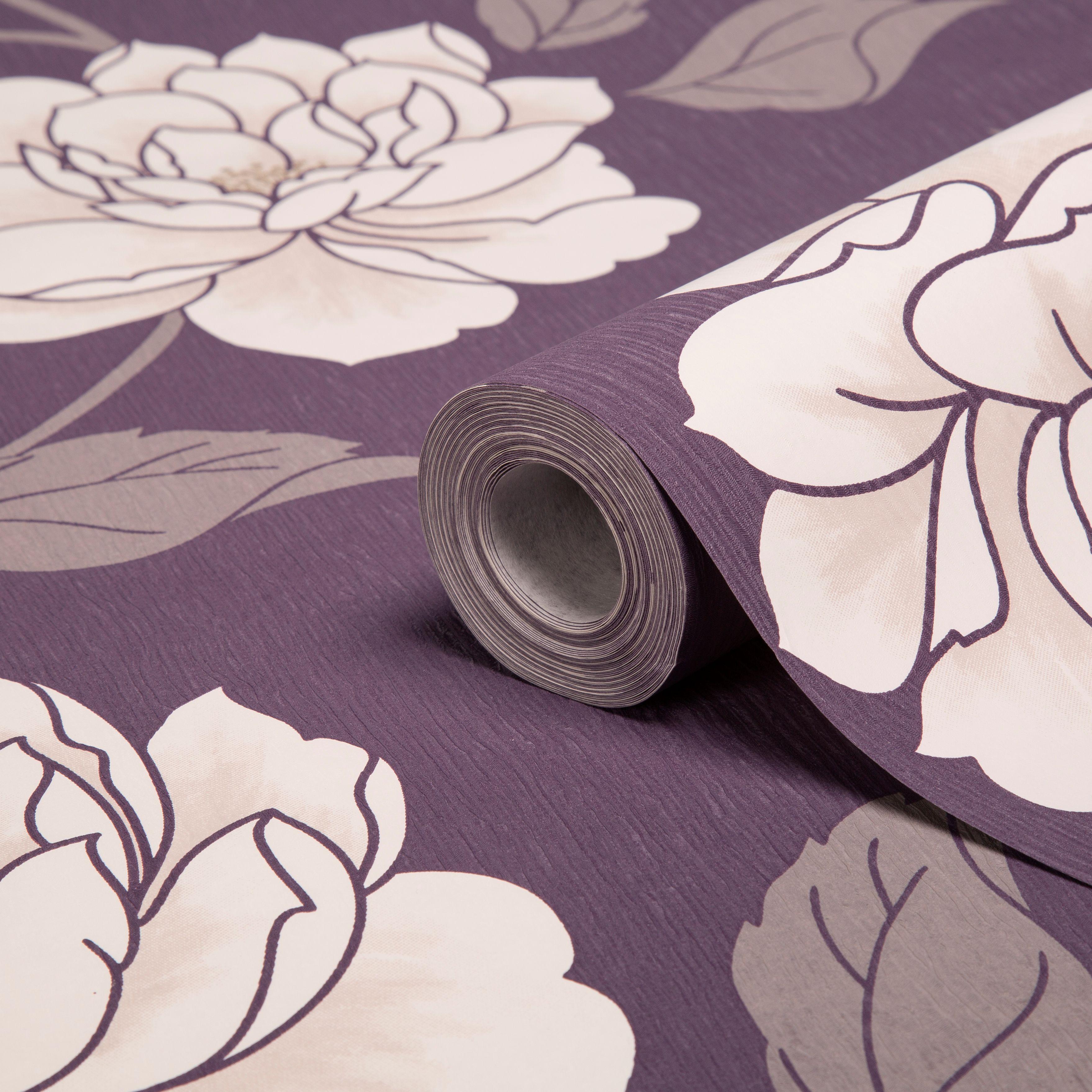 Purple Flower Wallpaper For Bedroom Colours Ella Purple White Floral Wallpaper Floral Wallpapers