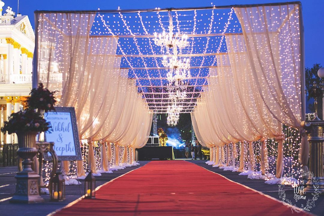 As Seen During Dusk The Entrance Pathway Decor At