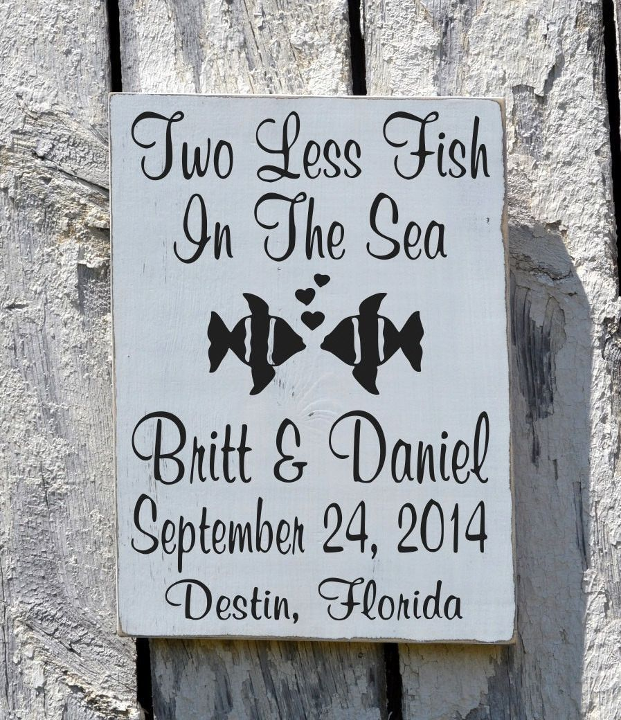 Personalized Beach Wedding Gifts: Beach Wedding Sign Rustic Personalized Gift Two Less Fish