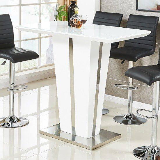 1b27508bd98 Memphis Glass Bar Table In High Gloss White And Chrome Base