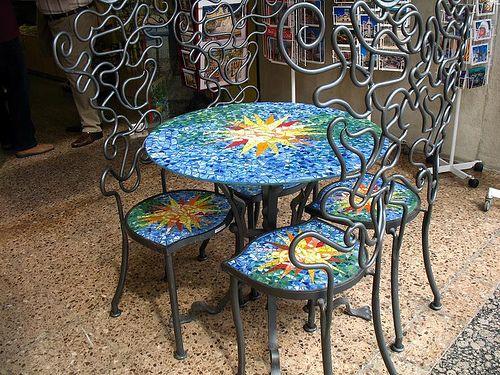 Table And Chairs Mosaic Furniture Mosaic Art Mosaic