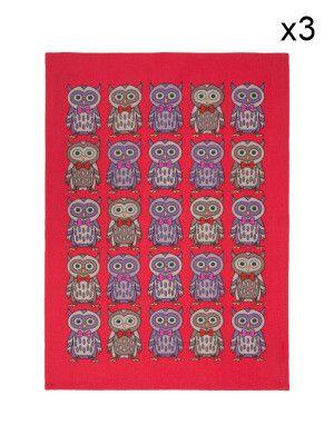 3-er Set Geschirrtücher Super Chouettes  aus Baumwolle  rot - 50 x 70 cm