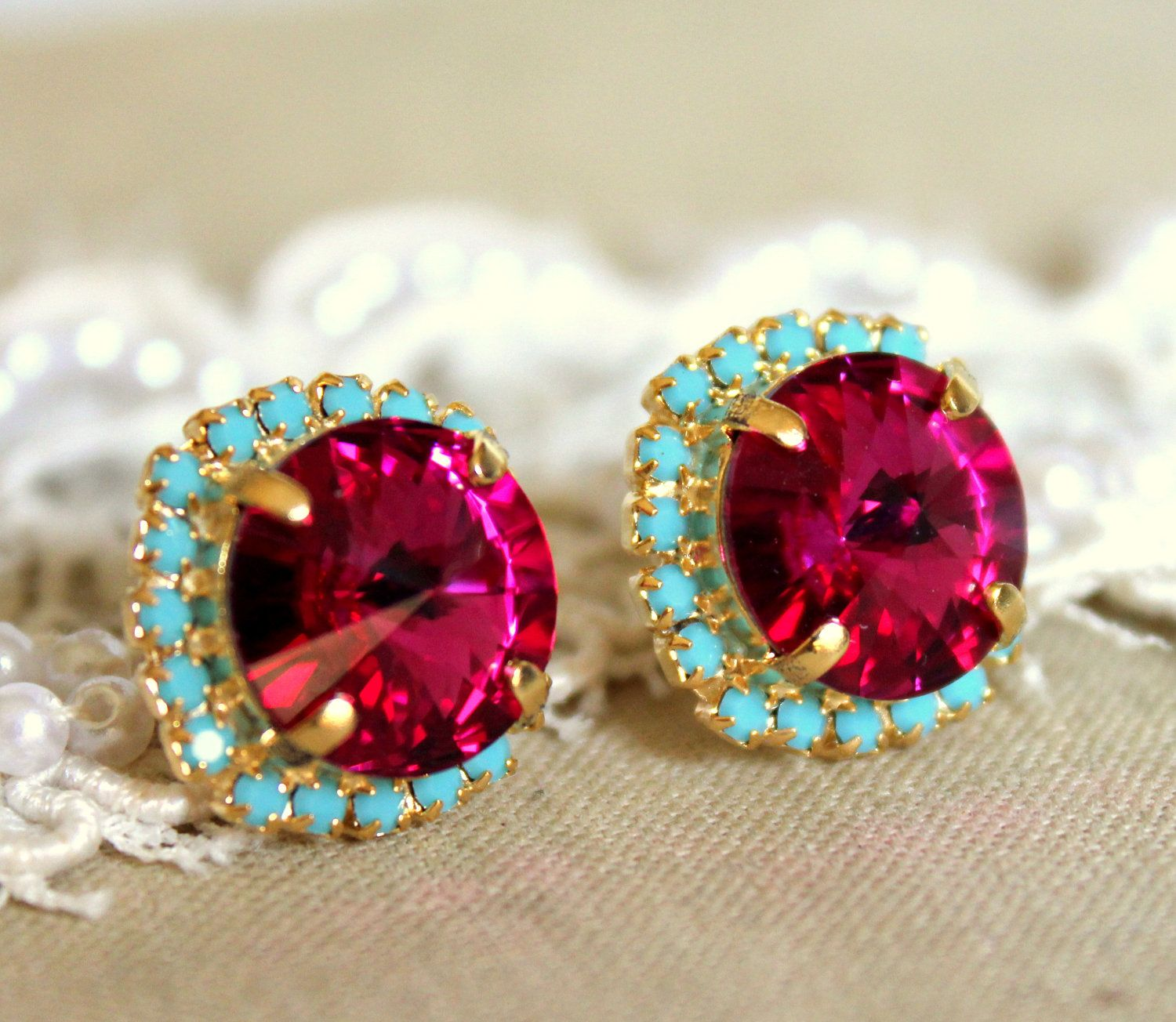 crystal turquoise swarovski long earring pin fuchsia big real gold rhinestones post stud pink earrings extra plated