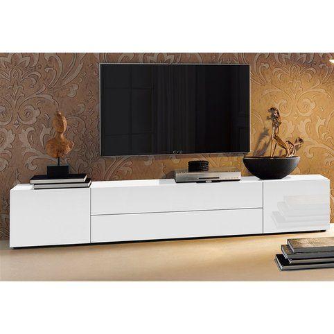 Meuble Tv Bas 2 Portes 2 Tiroirs Centraux L 200 Cm Blanc