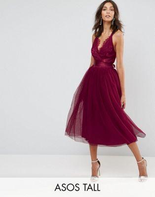 asos tall premium robe de bal de promo mi longue en tulle avec corsage en dentelle et rubans. Black Bedroom Furniture Sets. Home Design Ideas