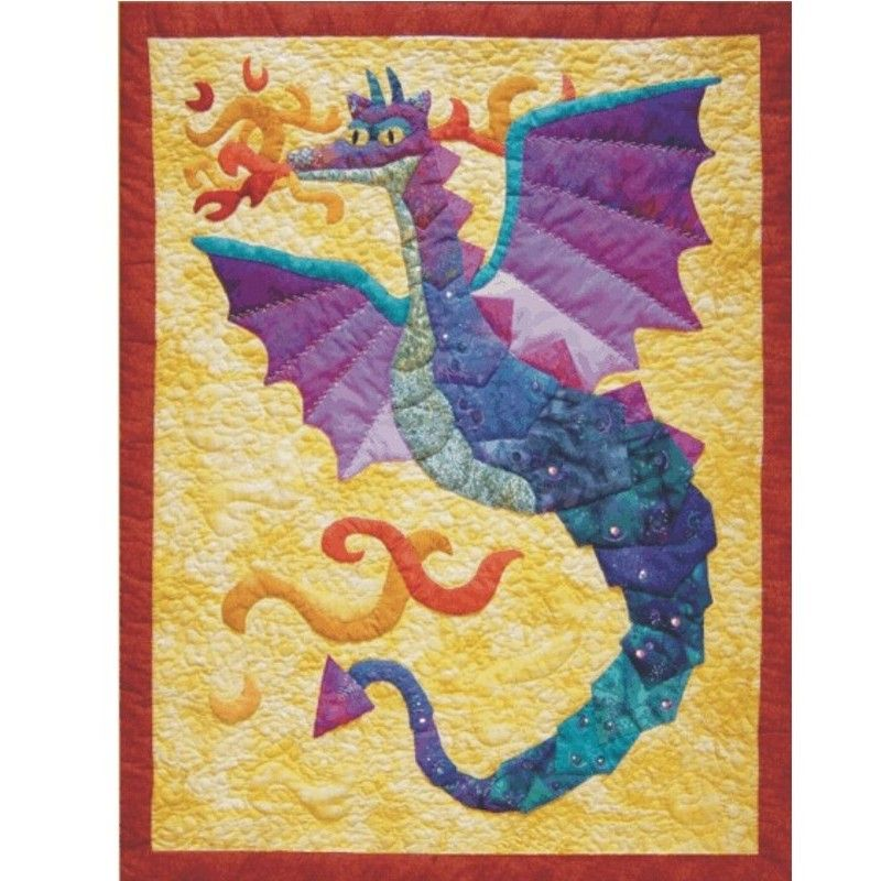 Dragonfires is an appliqued and quilted wall hanging pattern with ...