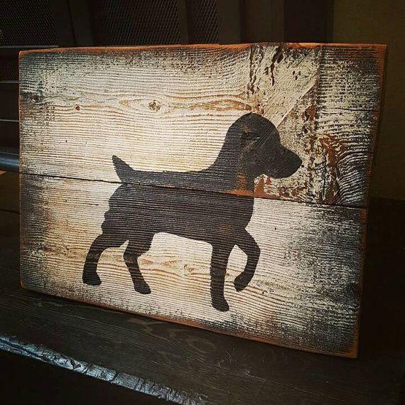 Dog Silhouette Pallet Sign by TeedumTeedee on Etsy