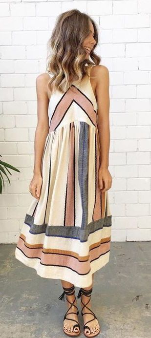 Guess pin-tuck top striped maxi dress