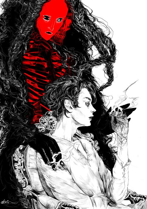 """rfmmsd:  Illustrator & Artist: Lynn Nguyen """"The Unlucky""""  """"And I ask this of you now,"""" said He who was Death, """"come with Me to the NetherRealm, walk before Me in the places of annihilation, become My servant, My companion, My beloved. And in return I will release all those you love from bondage.""""From my short storyThe Harbinger, about seventeen-year-old Leaf """"the unlucky"""", who strikes a bargain with Death - to spare the lives of his ailing family and kingdom in exchange for 100,000,000 years of servitude as Death's dealer. """""""