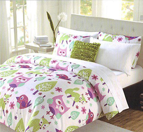 cynthia rowley 3 pc twin comforter bedding set owl fox bird green