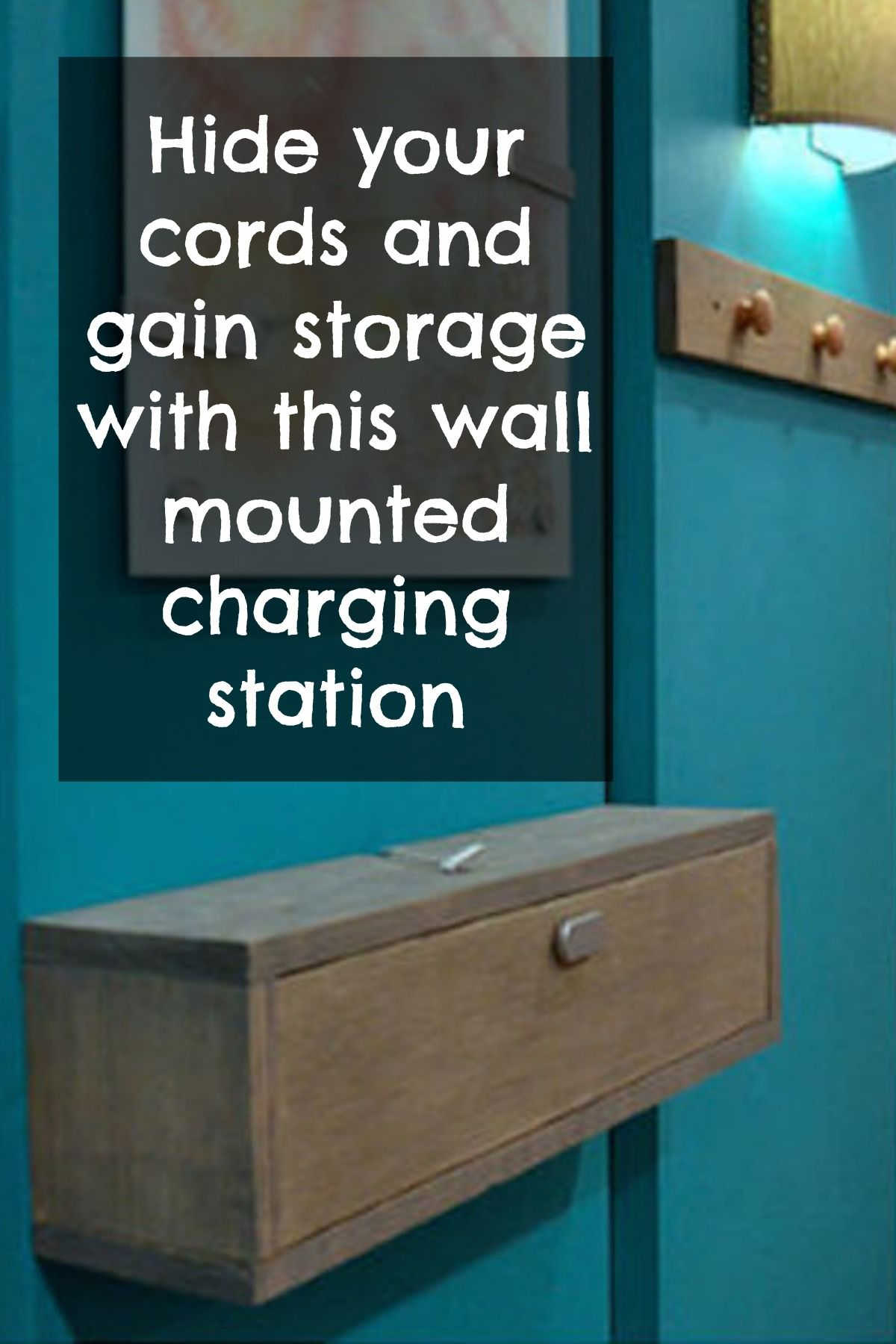 wall mounted diy charging station and shelf combo organize it diy diy furniture home decor. Black Bedroom Furniture Sets. Home Design Ideas