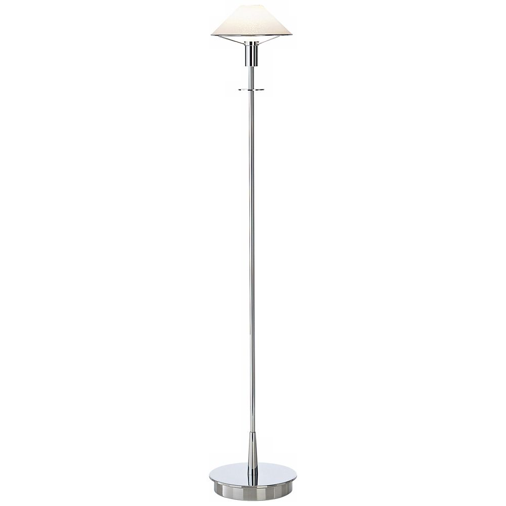 Chrome and satin white tented halogen holtkoetter floor lamp style