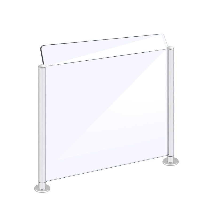 Countertop Acrylic Sneeze Guard Modular Supported With Rail