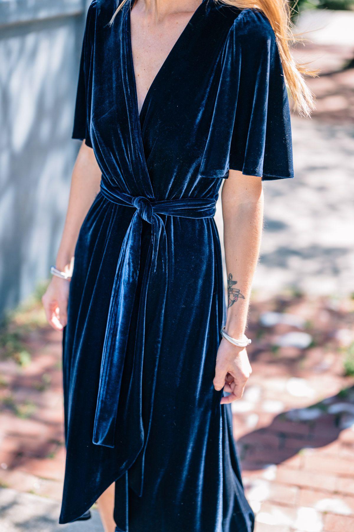 ab5d6c6210e11 Jess Ann Kirby styles a velvet wrap midi dress by Donna Morgan for a fall  wedding.