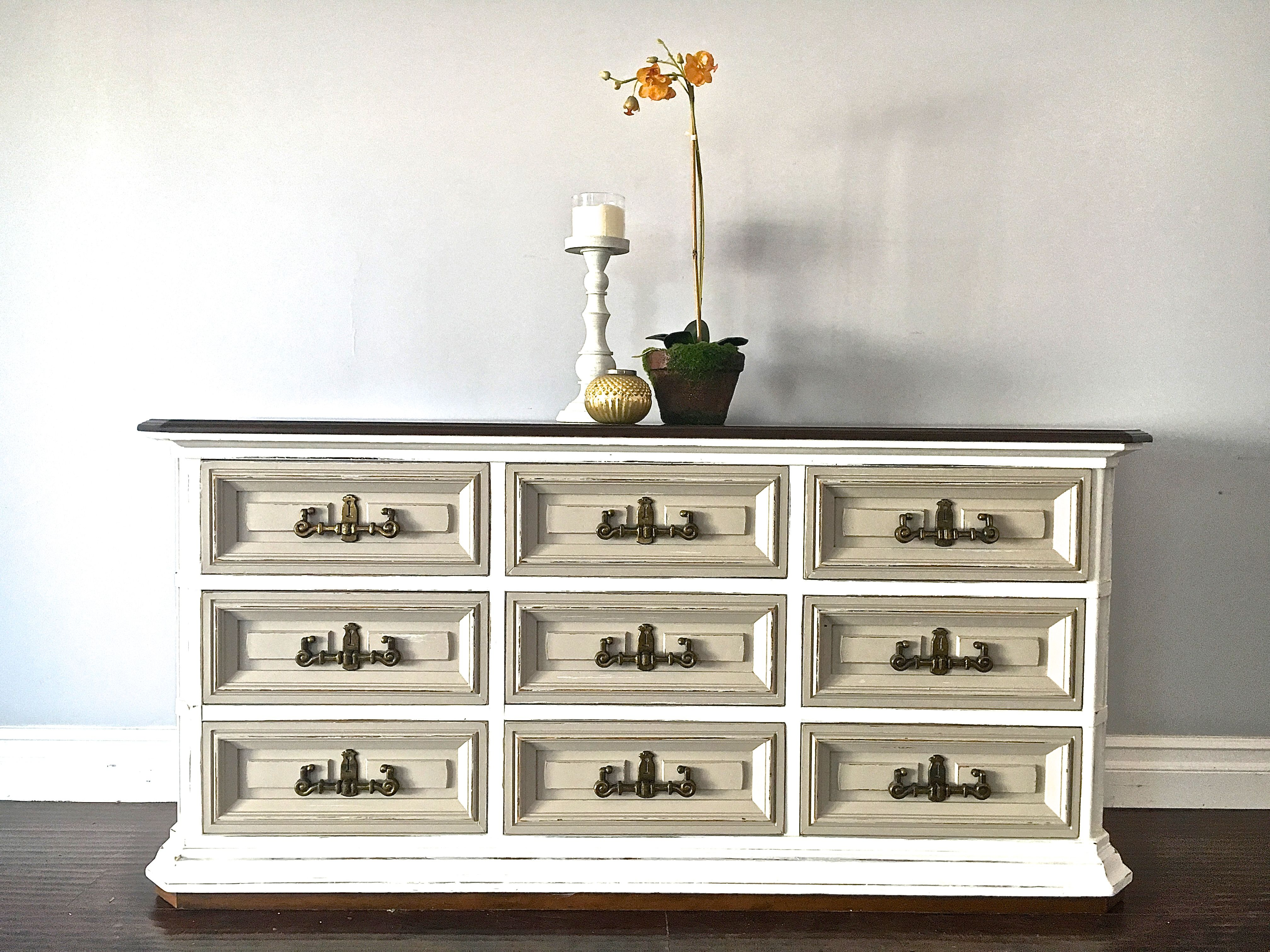 Country Decor Shabby Chic White & Taupe Dresser Sideboard Wstained