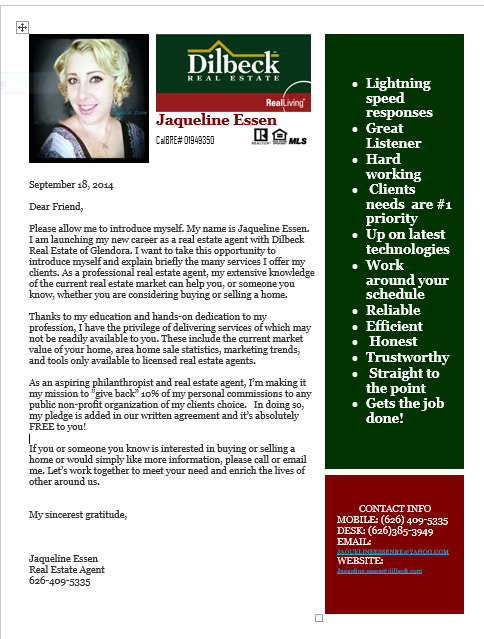 Introduction Letter Into My Real Estate Career With