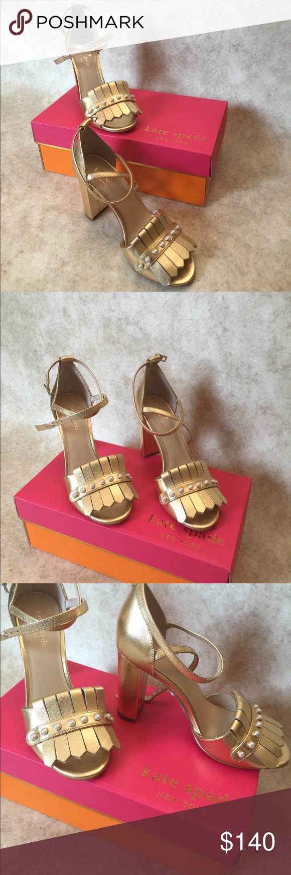 6b54b6198b92 🌟Kate Spade pearl open toe heels loafer style Kate Spade faux pearl and  beautiful gold color heels - open toe