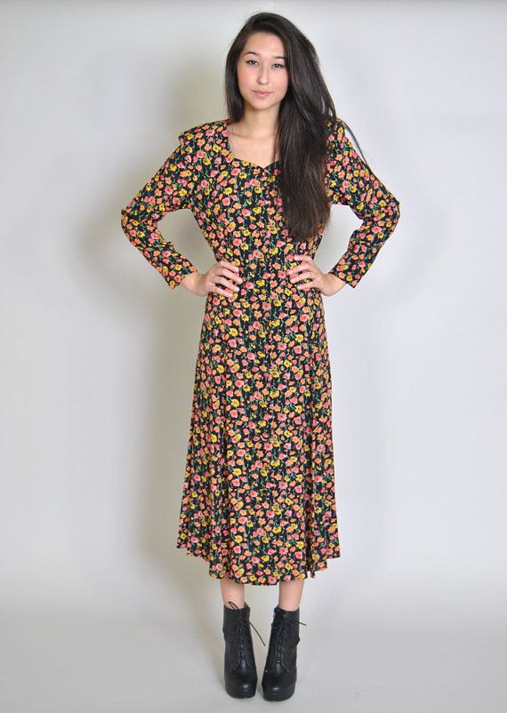 d8948dceed3 Vintage Floral Maxi Dress 90s Grunge Black Floral Midi Dress Duster Jacket  Kimono S M