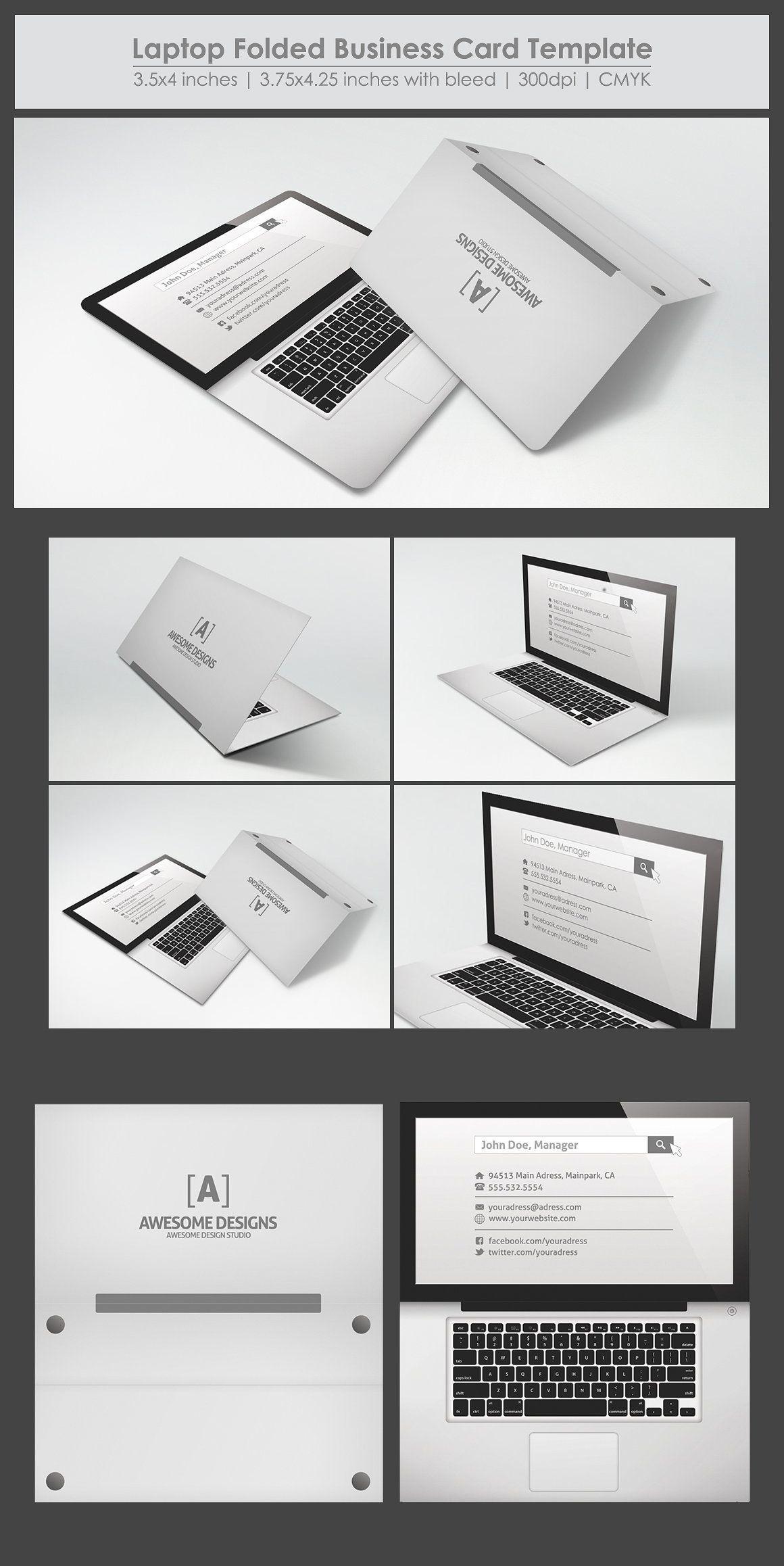 Laptop Folded Business Card Template #BestBusinessCards | Best ...