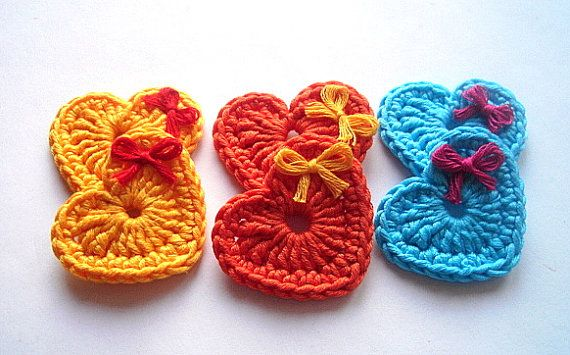 Pretty Crochet hearts w/bows.