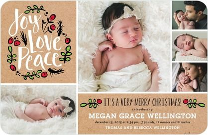 Peaceful Debut - Winter Girl Birth Announcements - Hello Little One - Bright Red - Red : Front