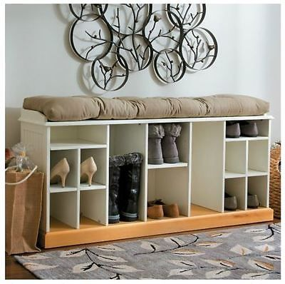 Shoe Storage Bench Elegant Wood Wooden Boot Compartments Cubbies Home  Furniture
