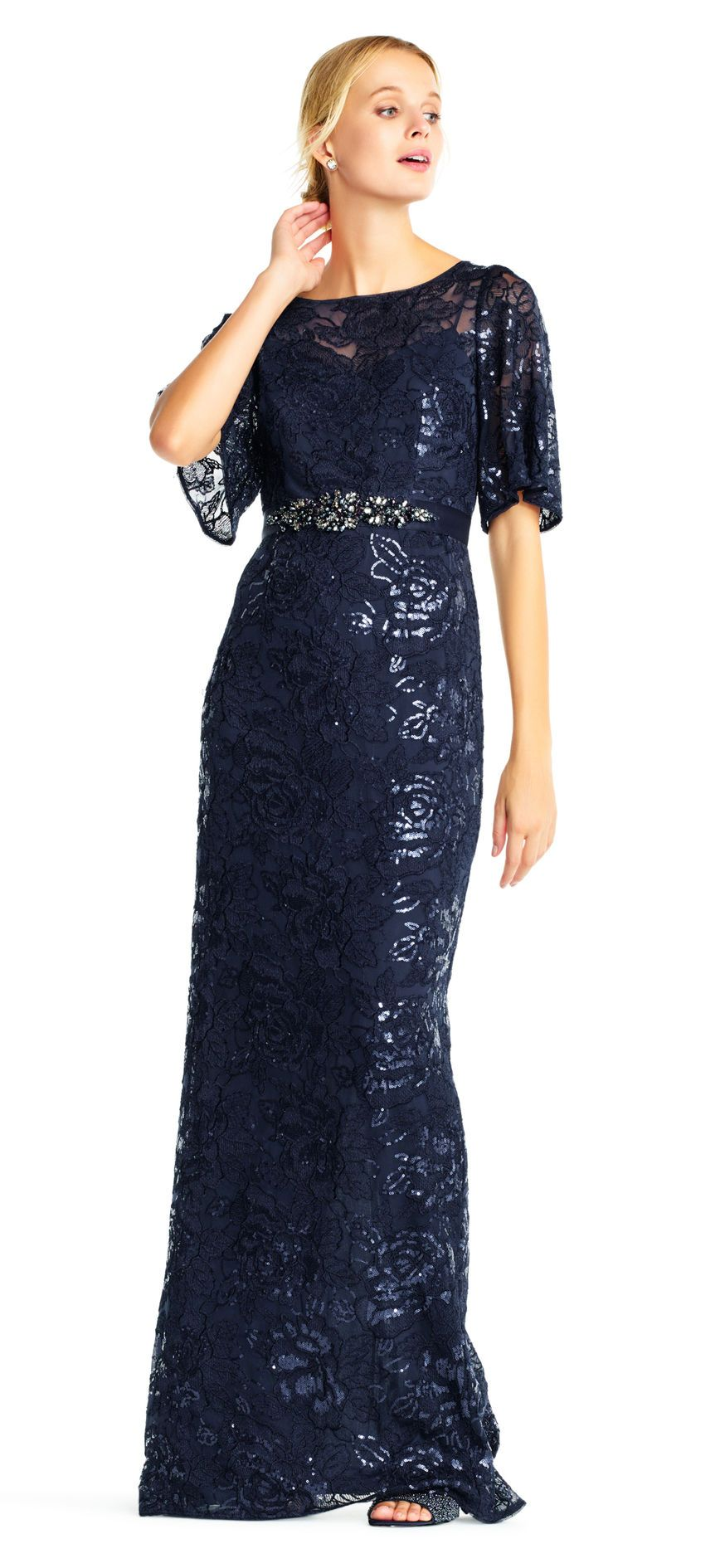 Metallic Embroidered Lace Gown with Flutter Sleeves and Beaded Waist ...